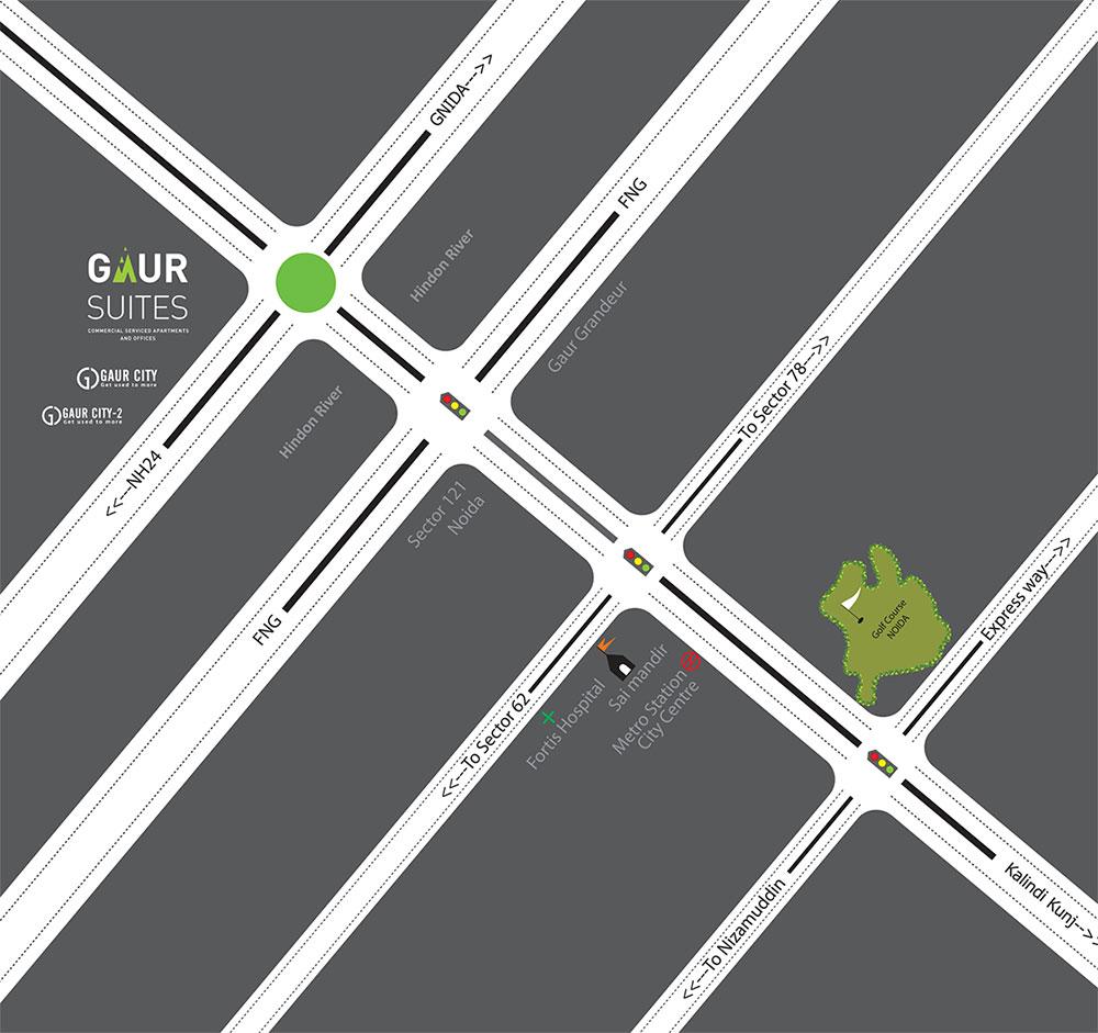 Gaur Studio Apartment Location Map