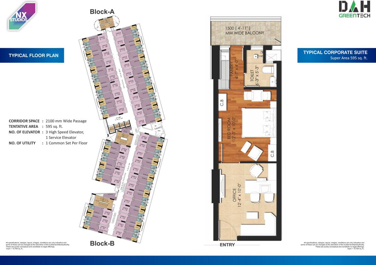 NX One Studios floor plan